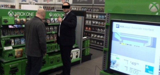 My respectfully anonymized manager and me (with my back turned) playing around with the Kinect retail system. Everything we touch on the shelves is recognized by a Kinect in the ceiling and sent onto the monitor in the foreground. You can see the item I'm currently touching and a heatmap of where we've walked around.